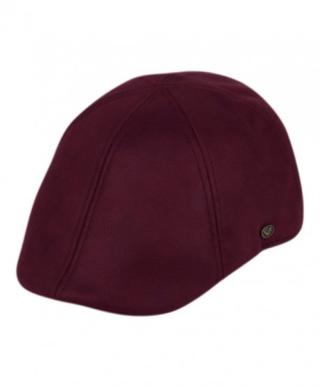 Faux Suede Leather Newsboy Flat Cap ivy Driver Hunting Hat - Burgundy - CM12NTY228B