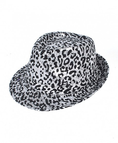 Exotic Leopard Pattern Fedora Hat - Black & White - C811DP71CR7