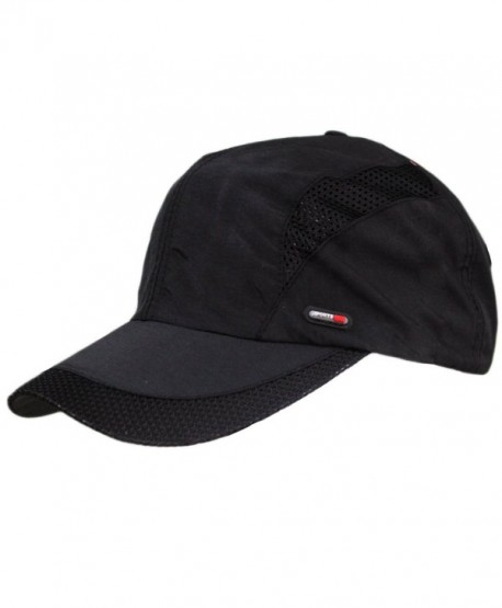 Mens Summer Quick-dry Ultra Mesh Big Brim Taffeta Running Baseball Hat Cap Visor - Black - CR12E5MMXDH