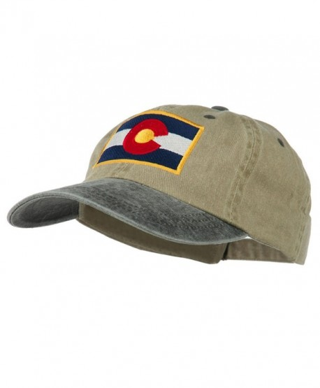 Colorado Flag Embroidered Two Tone Cap - Khaki Black - C811Q3SXPO3