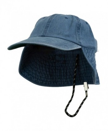 Washed Cotton Flap Hat-Navy - CB11174X62J