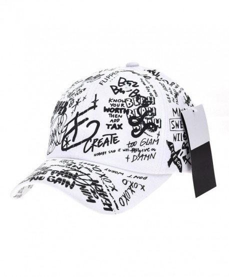 WITHMOONS Baseball Cap Graffiti Art Tattoo Graphic Hat AL1706 - White - CS1820XI5S4