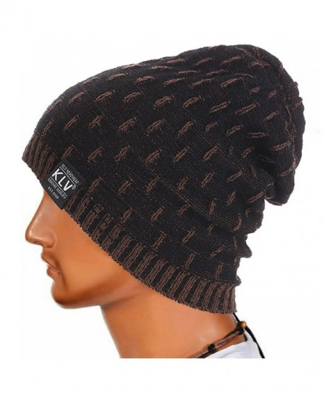 Foutou Men Winter Knitted Wool Slouchy Cap Ski Beanie Skull (Black) - C412N0KZC8E