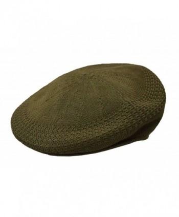 Kb Men's Mesh Ivy Cabbie Cap Crochet Hat Olive Green - CG17YH6A9SK