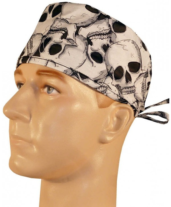 Mens and Womens Medical Cap - Large Skulls on Black - C012ELBTVZZ