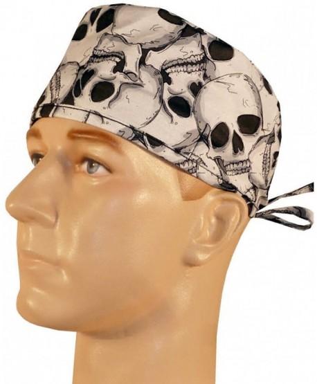 Mens and Womens Medical Cap - Large Skulls on Black - C012ELBTVZZ