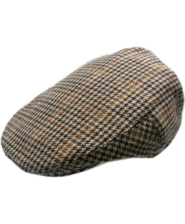 Mens Wool Blend Houndstooth Ivy Golf Driver Hat Irish Hunting Gatsby Flat Cap - CR1297HA2KF