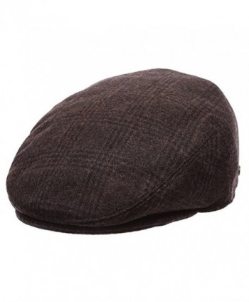 Epoch Men's Classic newsboy Cap- Flat IVY Hat- Snap Brim Herringbone Tweed Cap - 1930-brown - C512N36H5J4
