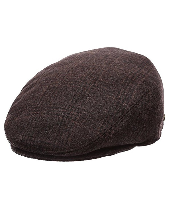 Epoch Men's Classic newsboy Cap- Flat IVY Hat- Snap Brim Herringbone Tweed Cap - 1930-brown - C512N36H5J4