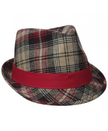 Henschel Men's Wool Blend Plaid Fedora With Solid Band and Loop - Red - CW12H9AJSPR