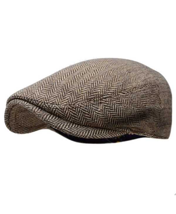 Herringbone Ivy Hat Wool Stripe Gatsby Cap Golf Driving Flat Cabbie Newsboy - Color 1-brown - CF186XZ8ONG