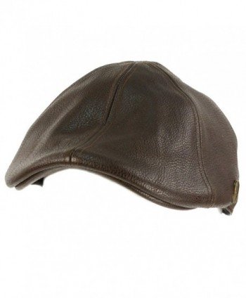 Men's Winter Fall Faux Leather Duckbill Ivy Driver Cabbie Cap Hat - Brown - CP11H6K1KHL