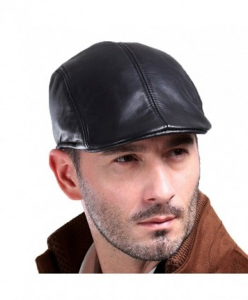Vemolla Men's Real Leather Fashion newsboy IVY Cabbie Cap Gatsby Flat Golf Hat - Black - C312NTLC3IQ