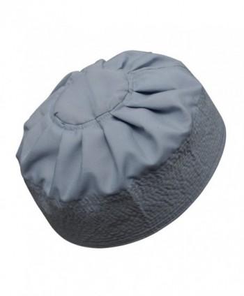 TheKufi Gray Cotton Pleated Top 3.5in Tall Fabric Kufi Prayer Cap Beanie - CG12O743YV2