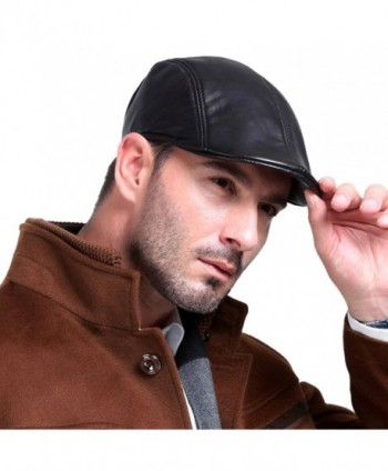 Vemolla Leather Fashion newsboy Cabbie in Men's Newsboy Caps