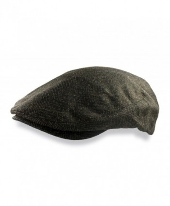 Mens Brown Wool Herringbone Ivy Hat Driving Cap - Brown - C111COL686F