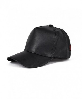 VOBOOM Men Women Flat Hip Hop Snapback PU Leather Baseball Cap 009 - Black - CY12LH1UBKL