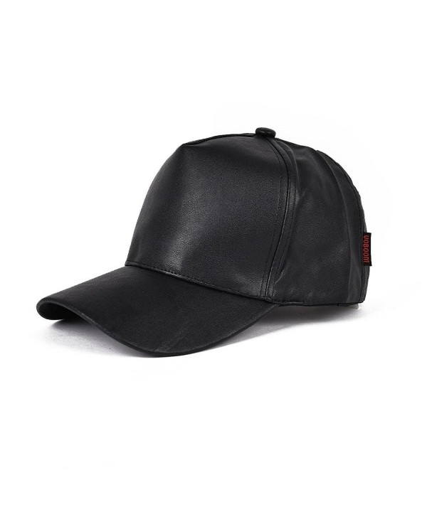 VOBOOM Men Women Flat Hip Hop Snapback PU Leather Baseball Cap 009 - Black - CY12LH1UBKL