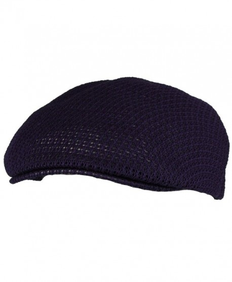 Summer Mesh Vented Ascot Flat Visor Golf Ivy Driver Cabby Cap Hat - Navy - CD11XJO7P3B