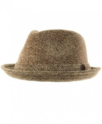 Men's 100% Soft Wool Herringbone Winter Derby Fedora Uprturn Hat - Brown - CI12N1BFPW1