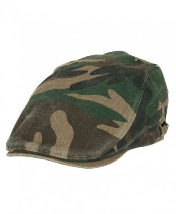 ililily Camouflage Pattern Washed Cotton Golf Hat Flat Strap Newsboy Cap - Olive Military - CZ11JS6L0VH