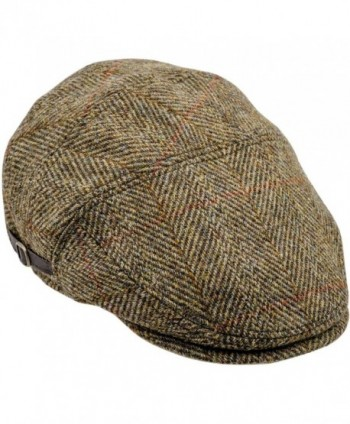 Sterkowski Harris Tweed Ivy League Classic Flat Cap - Yellow Check - CK11TU1MOAP