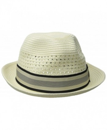 Scala Men's Vent Crown Paper Braid Fedora - Ivory - CL1287VGTI7