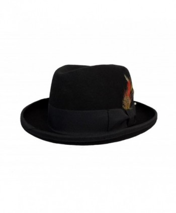 Men's Wool Felt Godfather Fedora Hat Black - CG11UB94C8D