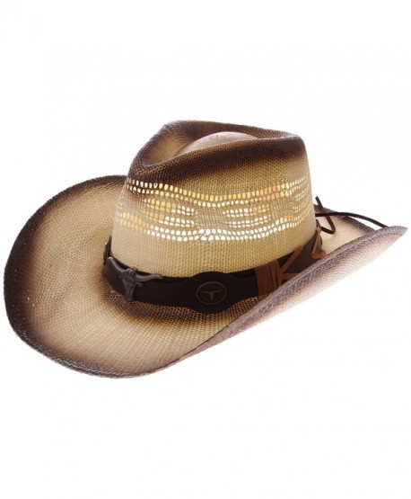 8802a1727d70d Enimay Western Outback Cowboy Hat Men s Women s Style Straw Felt Canvas -  Beige Brown Bullhead