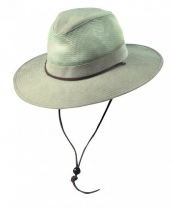Dorfman Pacific Men's Cotton Big and Tall Mesh Safari Hat - Khaki - C811VOP9XVT