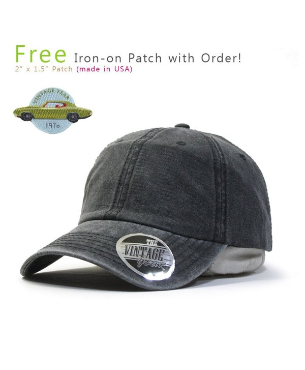 Vintage Washed Cotton Twill Adjustable Dad Hat Baseball Cap - Charcoal Gray 70p - CI12N0IYOVP