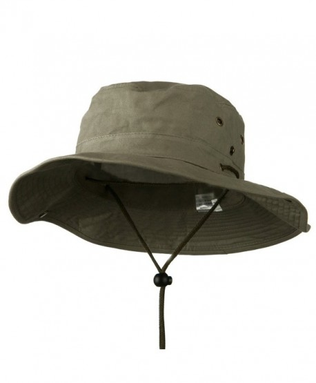 Extra Big Size Brushed Twill Aussie Hats - Olive 2XL-3XL - CU11M5D8Y2D