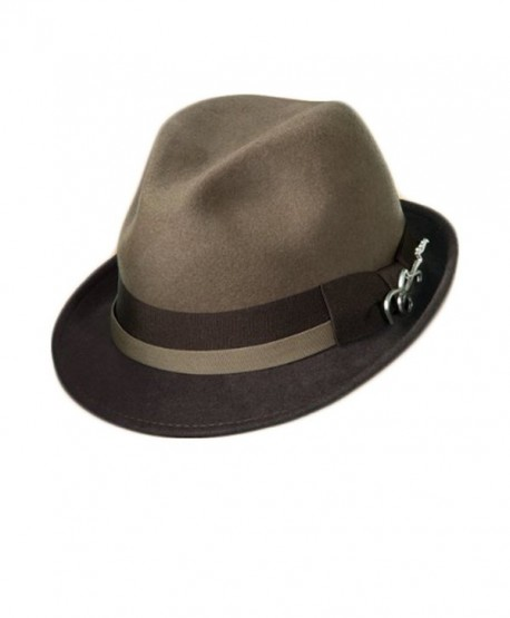 Dorfman Pacific Carlos Santana Bogart Fedora Hat (Taupe & Brown- Small/Medium) - CA11FTZE40P