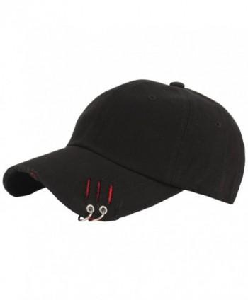 RaOn B193 New Distressed Ripped Vintage Ring Piercing Ball Cap Baseball Hat Truckers - Black - C212N6EKKC5