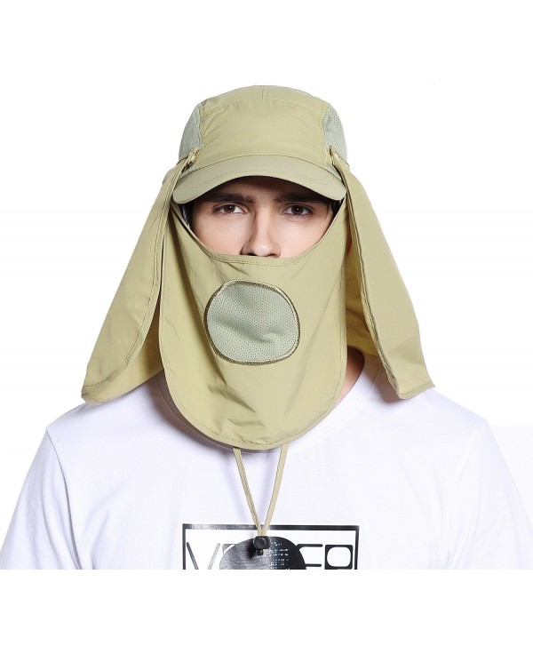 UV UPF 50+ Protection Outdoor Multifunctional Flap Cap with Removable Sun Shield and Mask - Khaki - CO12281XZ5R