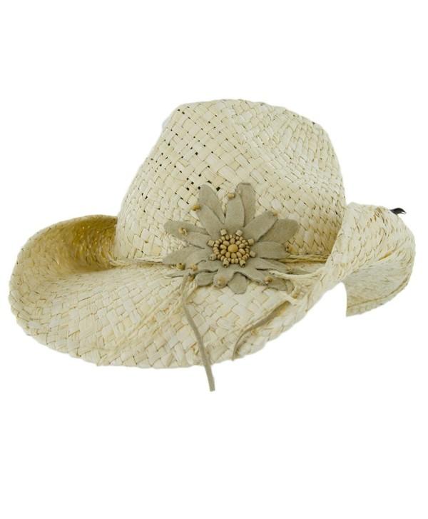 Peter Grimm Ltd Women's Calico Flower Straw Cowgirl Hat - Pgd4023-Tea-O - Natural - CJ11CP3UXQ3