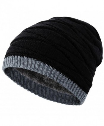 Novawo Men's Knit Thicken and Fleece Lining Beanie Hat Winter Slouchy Warm Cap - Black - C412O7CIMBW