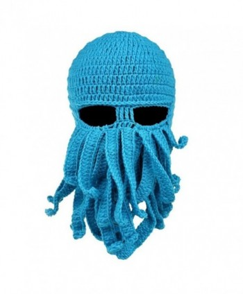 Alohaa Beard Hat Christmas Beanie Hat Knit Hat Winter Warm Octopus Hat Windproof Funny for Men & Women - Blue - CC12O5FCINM