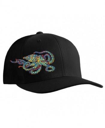 Octopus (Blue Ring) Scuba Diving Fitted Hat Flexfit Cap: Born of Water Apparel - Black - CJ11OU2ZMAN