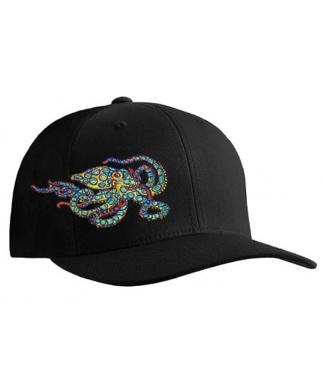 Octopus (Blue Ring) Scuba Diving Fitted Hat Flexfit Cap: Born of Water Apparel - Black - CJ11OU2ZMAN
