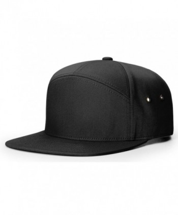 Richardson 7 Panel Cotton Twill Structured Camper Hat Adjustable Leather Strapback - Black - C3188U5WRX2