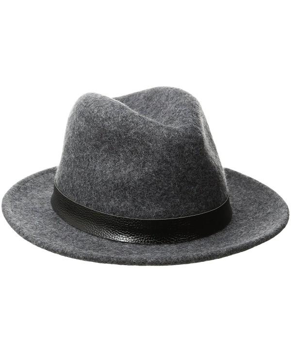 Perry Ellis Men's Wool Felt Fedora - Castlerock - C912N2OTJBZ