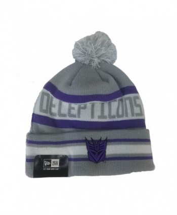 Cap One Size Decepticons The Jake 3 Pom Beanie Gray Purple Knit - CI11B4JPL5H