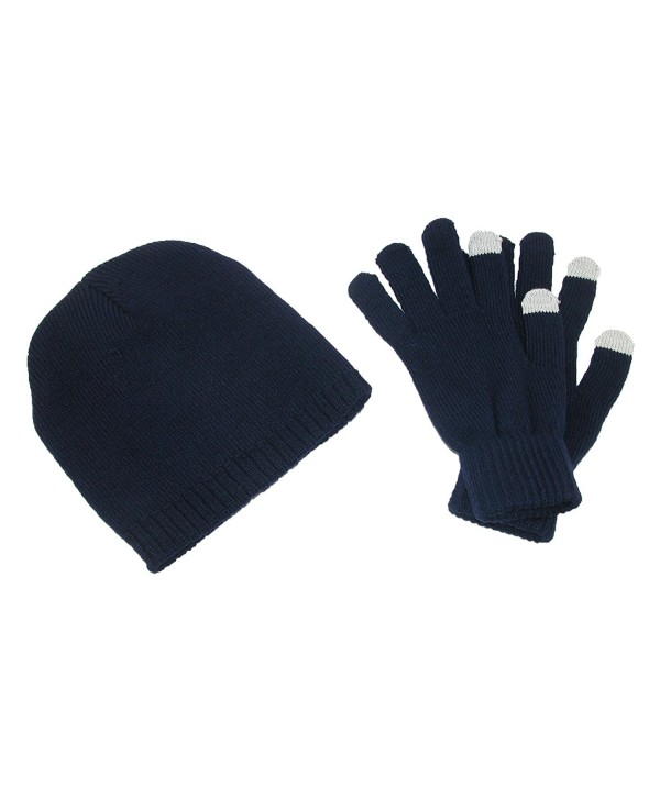 CTM Men's Solid Beanie and Touch Screen Gloves Winter Set - Navy - CL11QLHQ81N