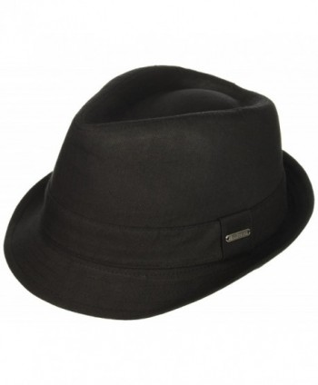 Van Heusen Men's Twill Herringbone Fedora Hat- Lightweight - Black - CO184T546QR