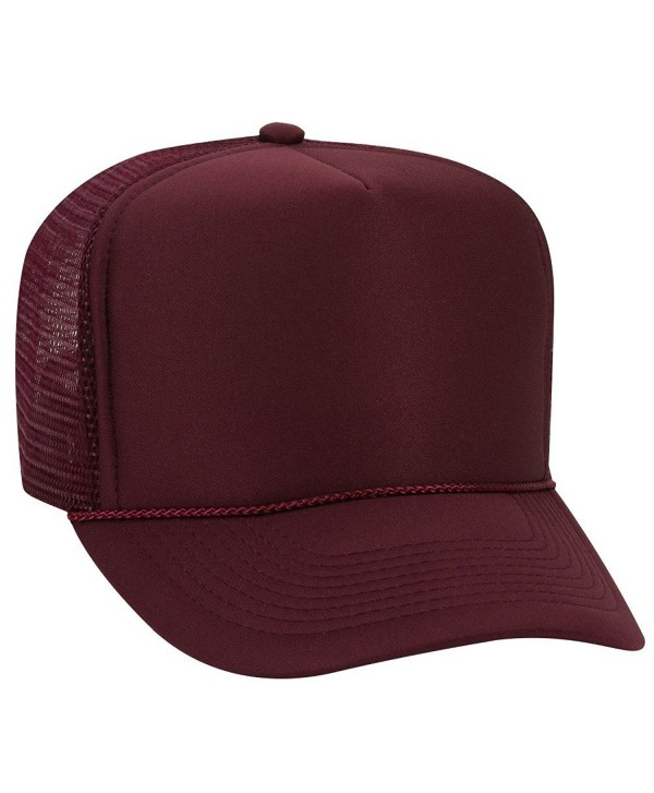 Otto Polyester Foam Front 5 Panel High Crown Mesh Back Trucker Hat - Maroon - CN12EXF1SG9