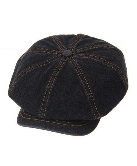 WITHMOONS Denim Cotton newsboy Hat Baker Boy Beret Flat Cap KR3613 - Black - C9183GGKQZO