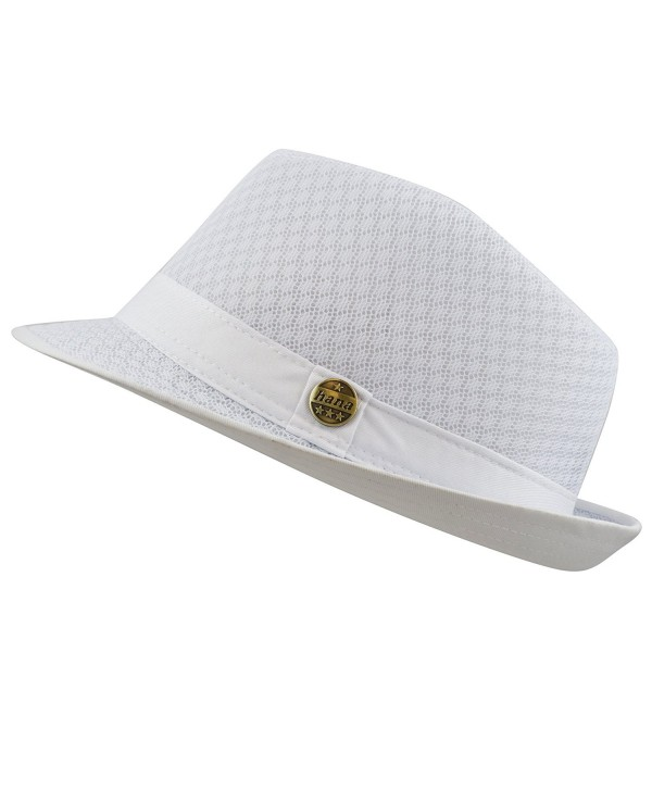 THE HAT DEPOT 200G1015 Light Weight Classic Soft Cool Mesh Fedora Hat - White - CG12DA4YISD
