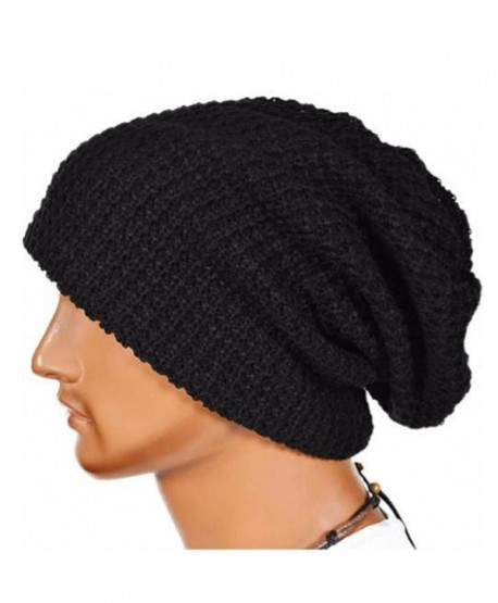 Binmer(TM)Men Women Warm Winter Knit Ski Beanie Skull Slouchy Cap Hip-pop Hat - Black - CU12C51IVD1