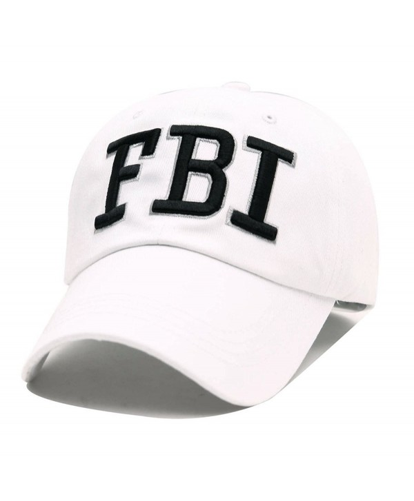FBI Hats GEANBAYE 100% Cotton and Police Agent Hats For Men and Women - White - CP184MQCUK8